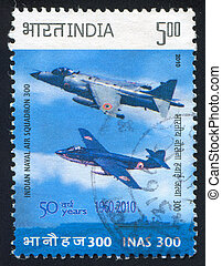 battle planes - INDIA - CIRCA 2010: stamp printed by India,...