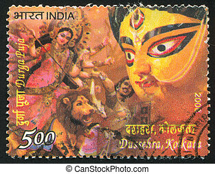 Durga Puja - INDIA - CIRCA 2008: stamp printed by India,...