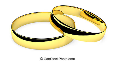 Two lying golden wedding rings isolated on white background