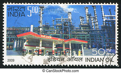 service station - INDIA - CIRCA 2009: stamp printed by...