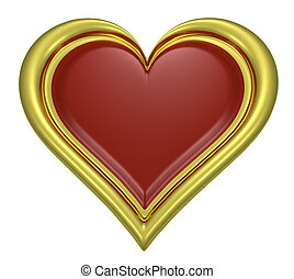 Golden heart pendant with dark-red middle isolated on white...