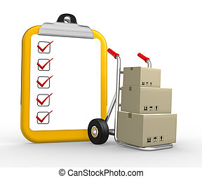 Clipboard - 3d hand truck with boxes and clipboard. 3d...