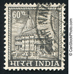 Somnath Temple - INDIA - CIRCA 1965: stamp printed by India,...