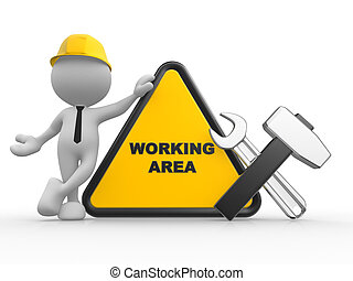 Warning area - 3d people - man, person with a wrench and a...
