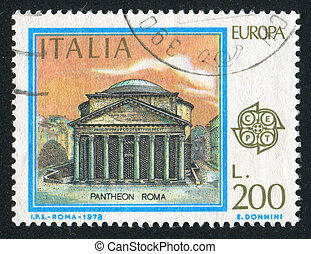 Pantheon in Rome - ITALY - CIRCA 1978: stamp printed by...