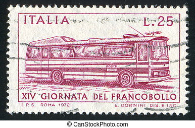 Autobus - ITALY - CIRCA 1972: stamp printed by Italy, shows...