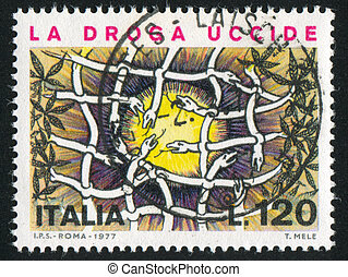 Snakes forming net - ITALY - CIRCA 1977: stamp printed by...