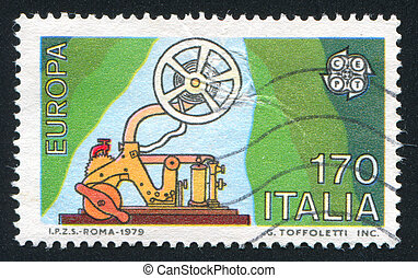 Telegraph - ITALY - CIRCA 1979: stamp printed by Italy,...