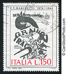 gunners letter by Marinetti - ITALY - CIRCA 1976: stamp...