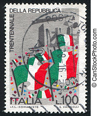 Italian flags - ITALY - CIRCA 1976: stamp printed by Italy,...