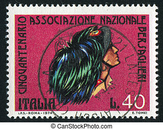 Sharpshooter - ITALY - CIRCA 1974: stamp printed by Italy,...