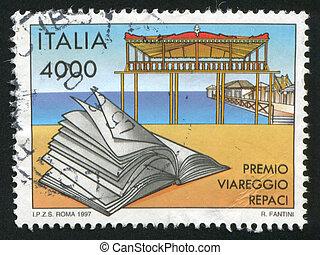 Viareggio Literary prize - ITALY - CIRCA 1997: stamp printed...