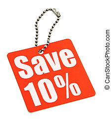Sale tag on white background, no copyright infringement