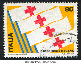 Red Cross - ITALY - CIRCA 1980: stamp printed by Italy,...