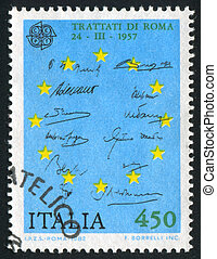 European Union - ITALY - CIRCA 1982: stamp printed by Italy,...