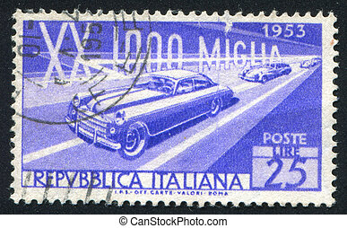 Racing Cars - ITALY - CIRCA 1953: stamp printed by Italy,...