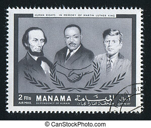 Kennedy and Martin Luther King - MANAMA - CIRCA 1971: stamp...