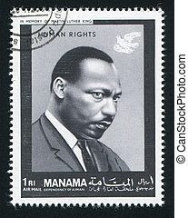 Martin Luther King - MANAMA - CIRCA 1971: stamp printed by...