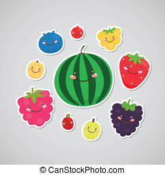 Cute berry sticker - Blueberry, cranberry, cloudberry,...