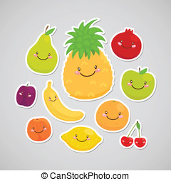 Cute fruit sticker - Apple, pear, lemon, orange, plum,...