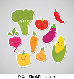 Cute vegetable sticker - Broccoli, carrot, tomato, pepper,...
