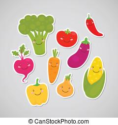 Cute vegetable sticker - Broccoli, carrot, tomato, pepper,...