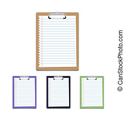 Clipboard with blank paper isolated on white background,...