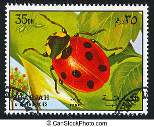Ladybug - SHARJAH AND DEPENDENCIES - CIRCA 1972: stamp...