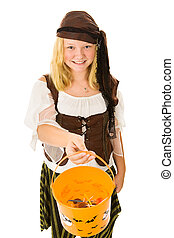 Halloween Pirate Trick or Treats - Beautiful adolescent girl...