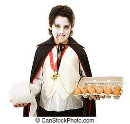 Halloween Trickster - Mischievous adolescent boy ready to...