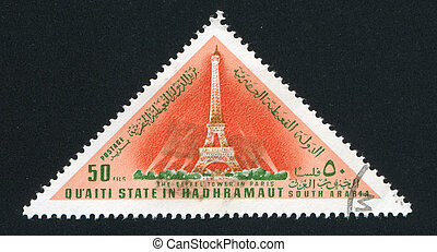 Eiffel Tower - SOUTH ARABIA - CIRCA 1972: stamp printed by...