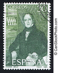 Andres Bello - SPAIN - CIRCA 1981: stamp printed by Spain,...