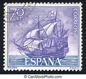 Galleon - SPAIN - CIRCA 1964: stamp printed by Spain, shows...