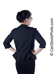 Rear Back view of business woman standing Isolated white...