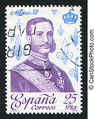 Alfonso XII - SPAIN - CIRCA 1978: stamp printed by Spain,...