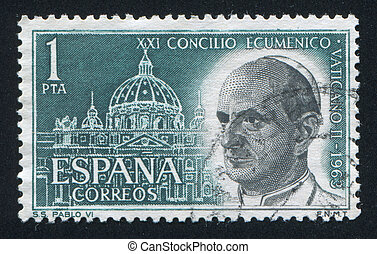 Pope Paul VI - SPAIN - CIRCA 1963: stamp printed by Spain,...