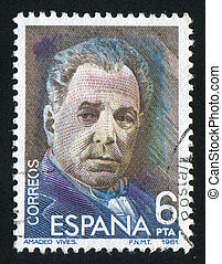 Amadeo Vives Roig - SPAIN - CIRCA 1982: stamp printed by...