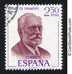 Miguel de Unamuno - SPAIN - CIRCA 1970: stamp printed by...