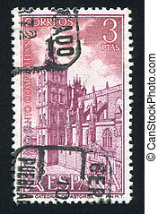 Astorga Cathedral - SPAIN - CIRCA 1971: stamp printed by...