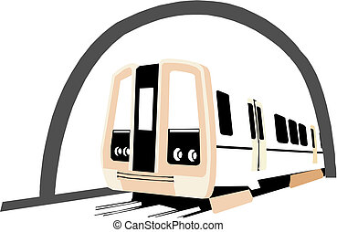 train in tunnel illustration