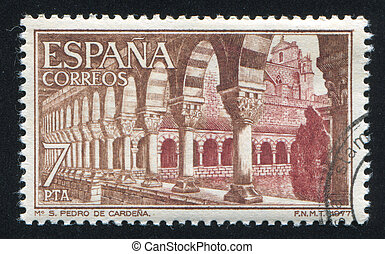 San Pedro Monastery - SPAIN - CIRCA 1977: stamp printed by...
