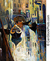 Venice, Italy - Original oil painting of beautiful Venice,...