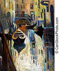 Venice, Italy - Original oil painting of beautiful Venice,...