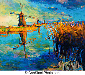 Windmills - Original oil painting showing beautiful...