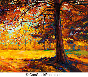 Autumn tree - Original oil painting showing beautiful autumn...