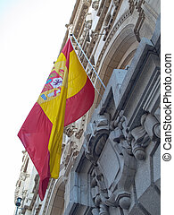 Madrid, architecture, fronts,flag,