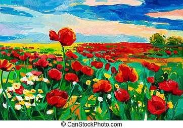 Poppy fields - Original oil painting of Opium poppy( Papaver...