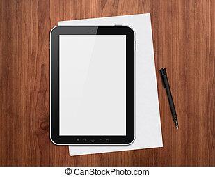 Digital tablet with pen on a desk