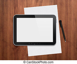 Digital tablet with pen on a desktop - Modern blank digital...
