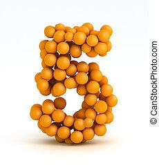 Number 5, font of orange citrus fruits on white background